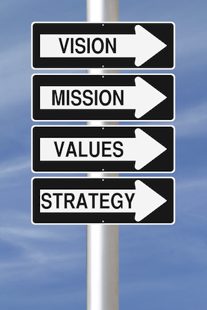 mission vision values arrow signs
